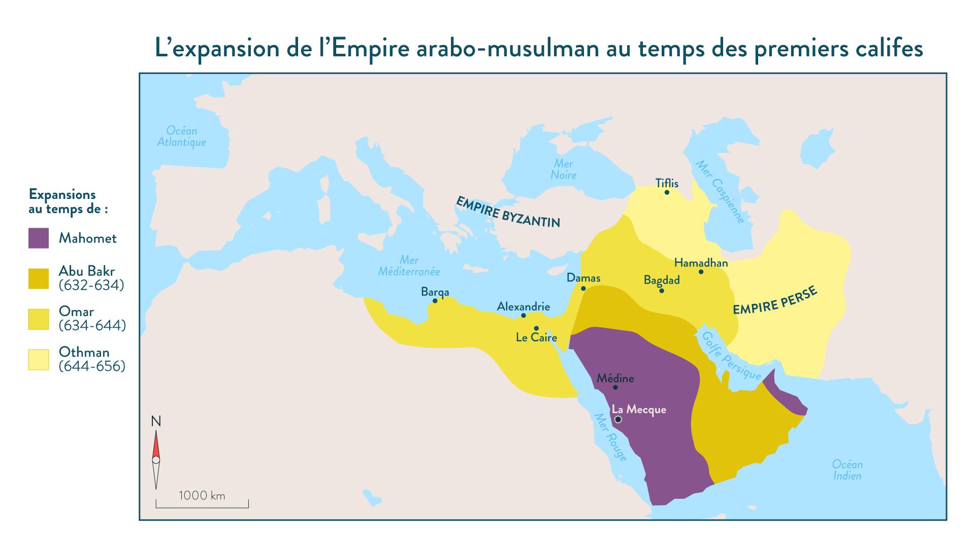 L'expansion de l'Empire arabo-musulman au temps des premiers califes - 5e - histoire