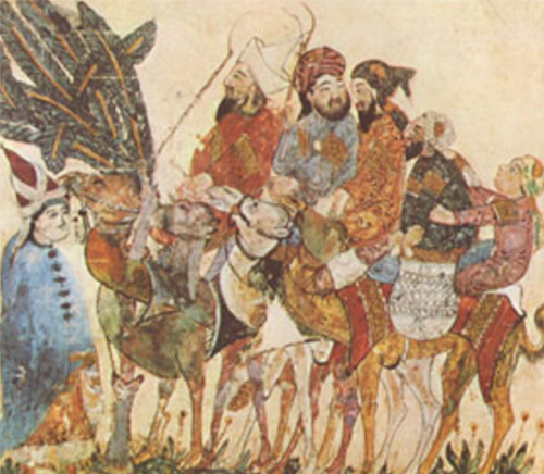 Caravane de marchands arabes, miniature extraite d'un manuscrit arabe de la BNF