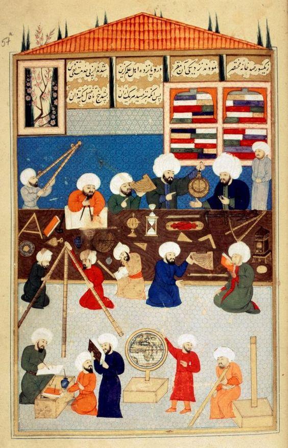 Astronomes arabes, Shâhinshâhnameh of&nbsp;Murad&nbsp;III, velum de l'école turque du XVI<sup>e</sup>&nbsp;siècle, bibliothèque de l'université d'Istanbul