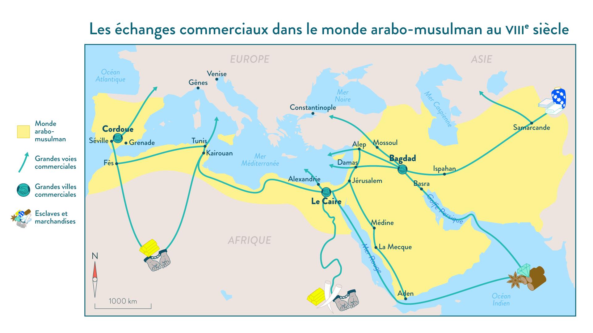 Les échanges commerciaux dans le monde arabo-musulman au VIII<sup>e</sup>&nbsp;siècle - 5e - Histoire