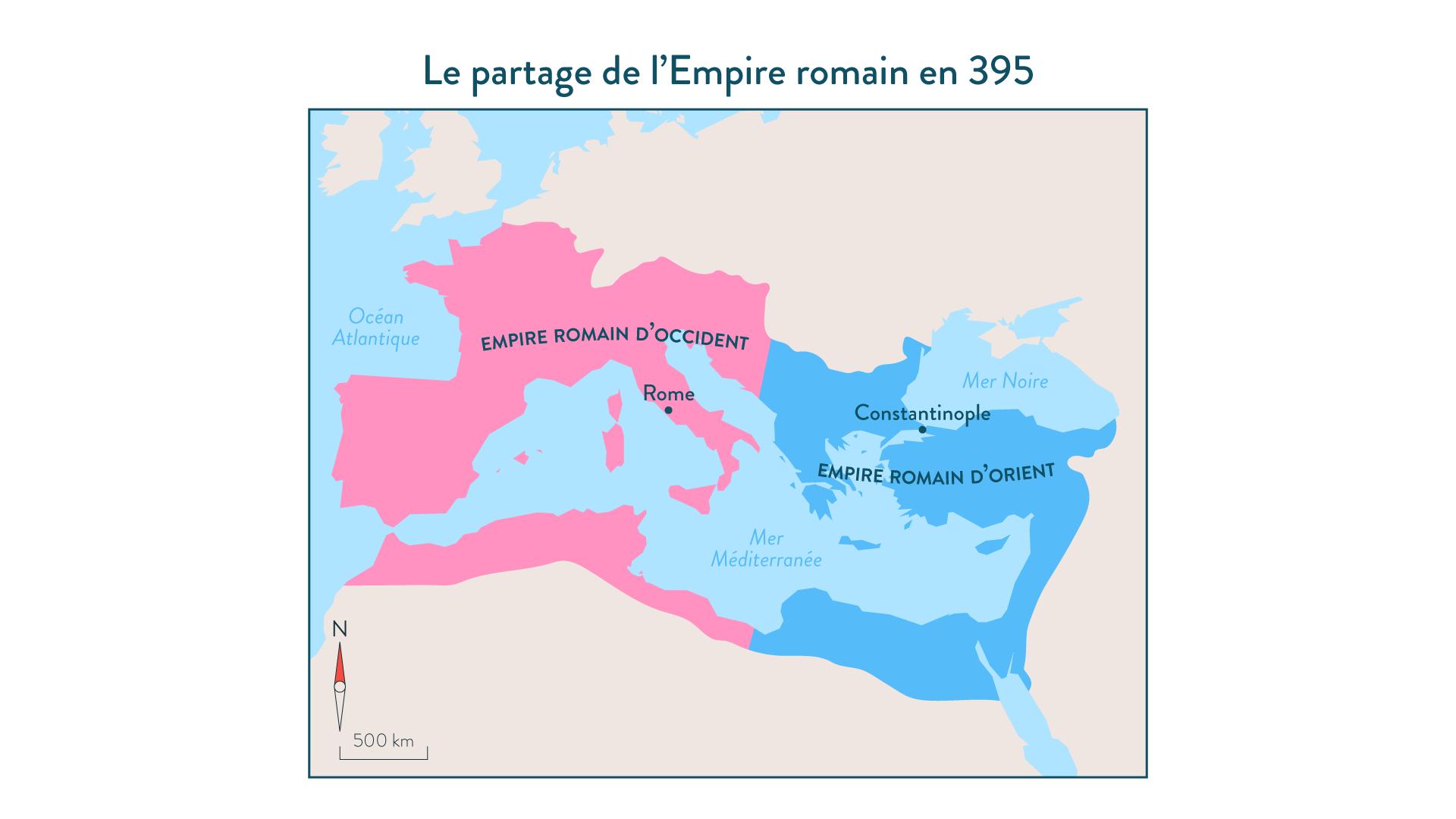 Le partage de l'Empire romain en395-5e-Histoire
