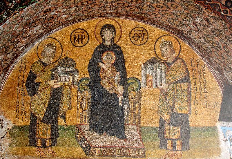 Constantin, Justinien et la Vierge Marie. Mosaïque de l'église Sainte-Sophie de Constantinople, X<sup>e</sup>siècle, Istanbul