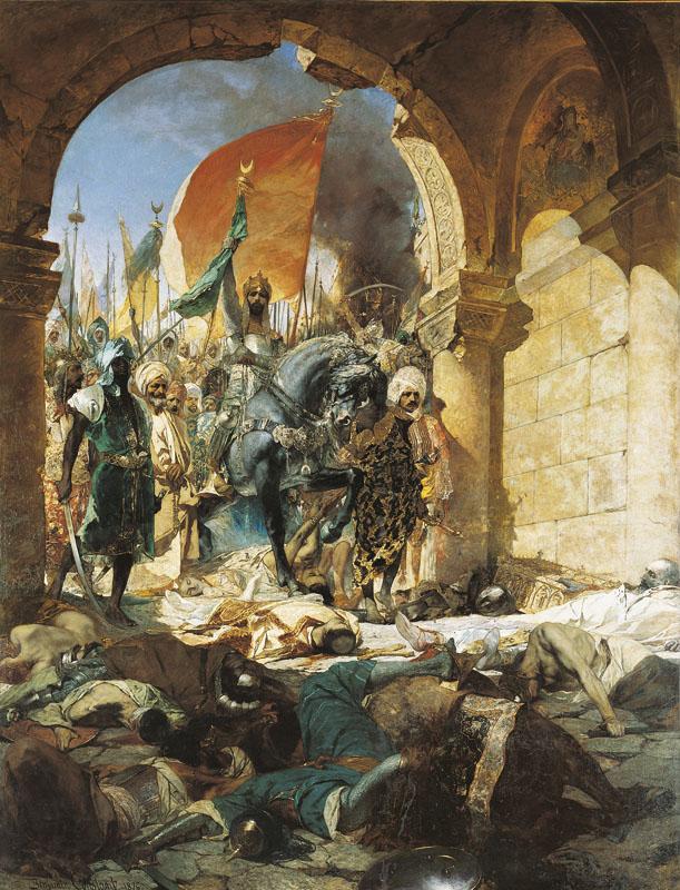 Entrée du sultan MehmetII à Constantinople le 29 mai1453. Tableau de Benjamin-Constant, 1876, musée des Augustins