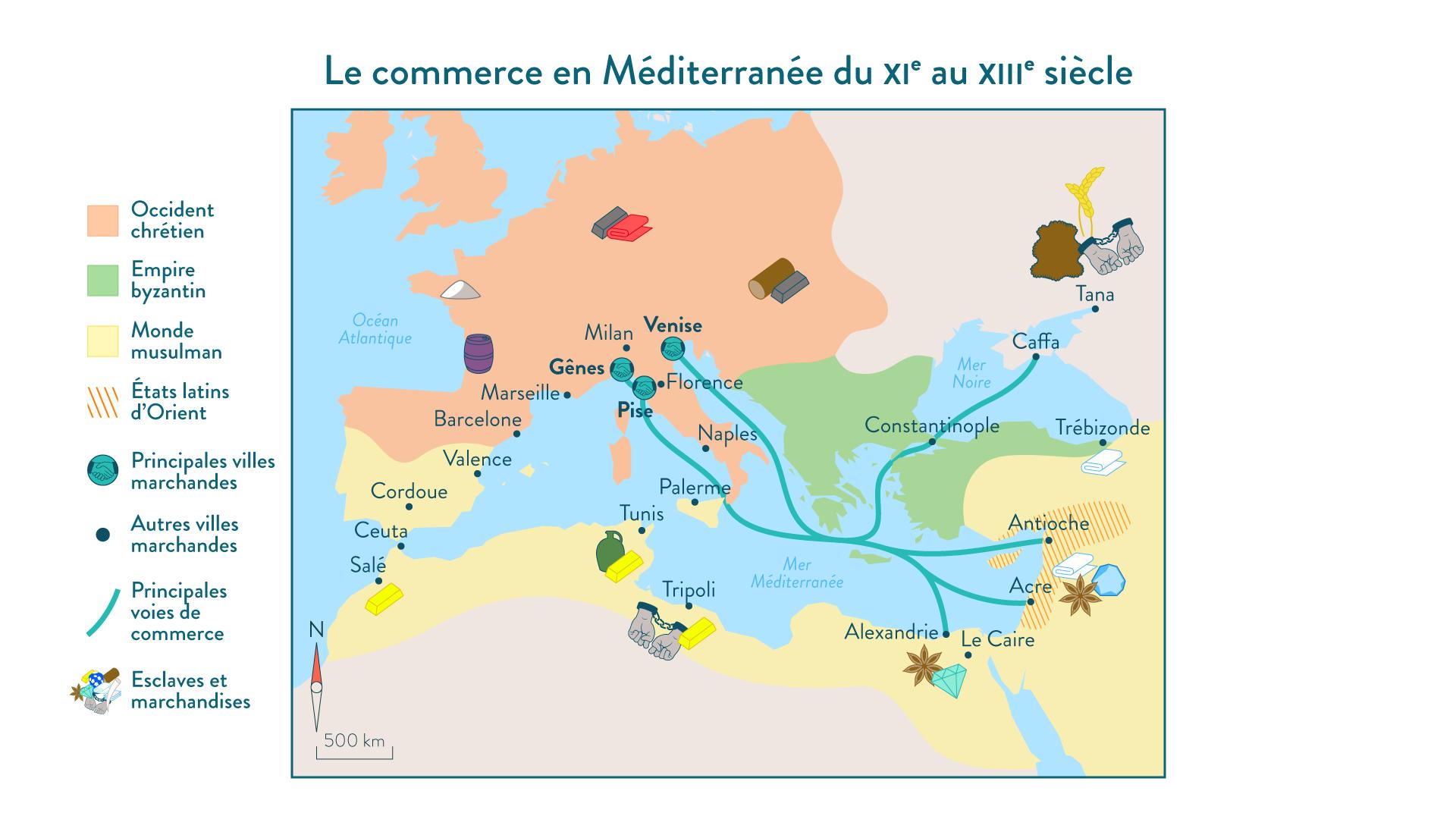 Le commerce en Méditerranée du XIe au XIIIe siècle - 5e - histoire
