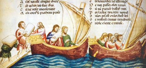 Un chargement de marchandises dans le port de Venise. Miniature d'un manuscrit du XIII<sup>e</sup>siècle, conservé à la Biblioteca Marciana de Venise, Italie