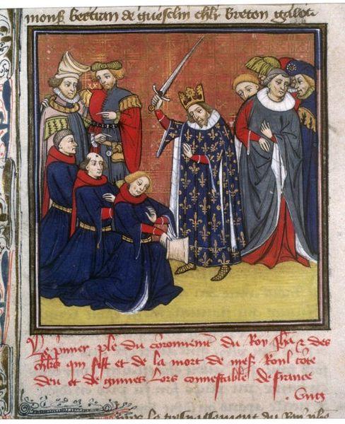 JeanII le Bon adoubant des chevaliers, XV<sup>e</sup>siècle, BNF-histoire-6e