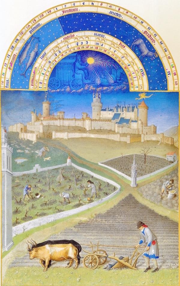 Enluminure de Barthélémy d'Eyck, <em>Très Riches Heures du Duc de Berry</em>, mois de mars, vers1440, musée Condé, Chantilly