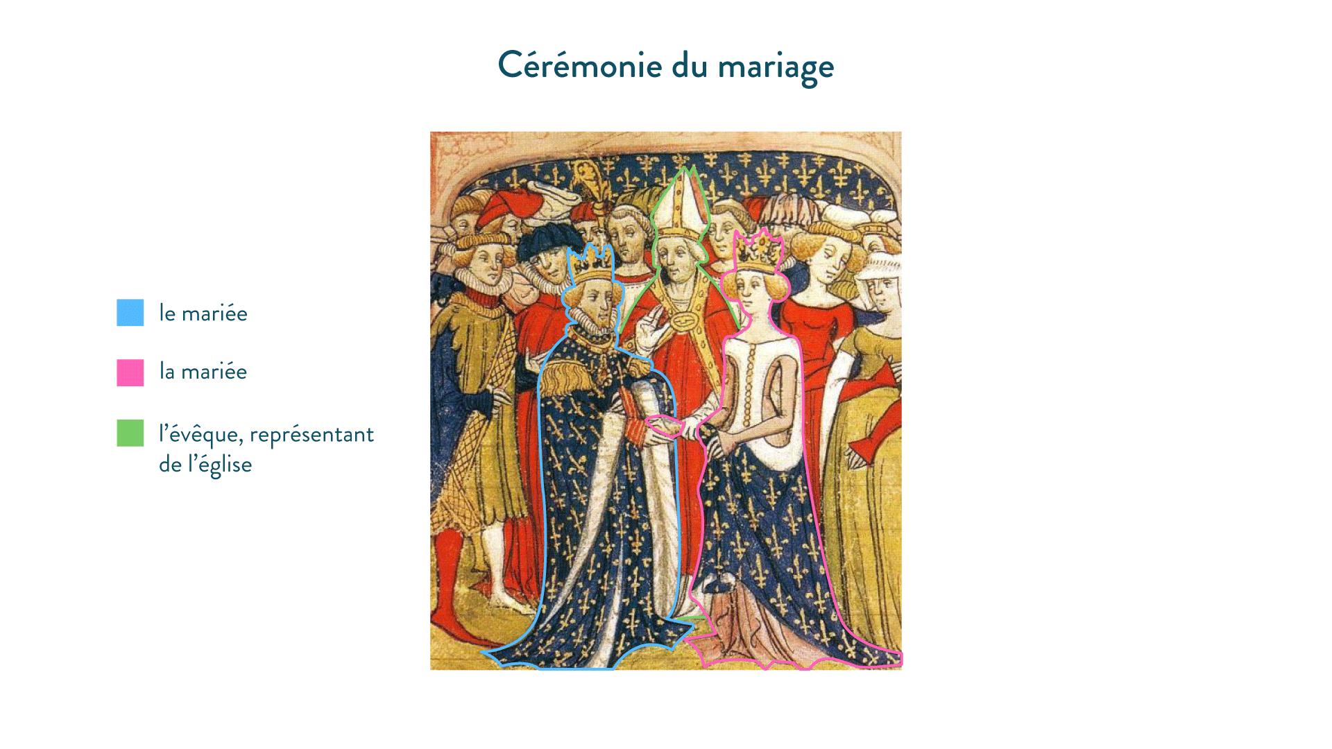 Mariage de Marie de Brabant et du roi Philippe III de France. <em>Manuscrit des Chroniques de France ou de Saint Denis</em>, fin du XIV<sup>e</sup> siècle, British Library, Londres - 5e - histoire