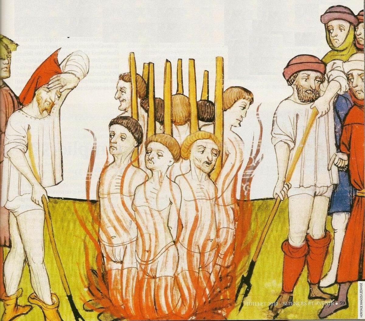 La peine du feu. Miniature des Chroniques de Saint-Denis, XII<sup>e</sup>-XIII<sup>e</sup>siècle, British Library, Londres