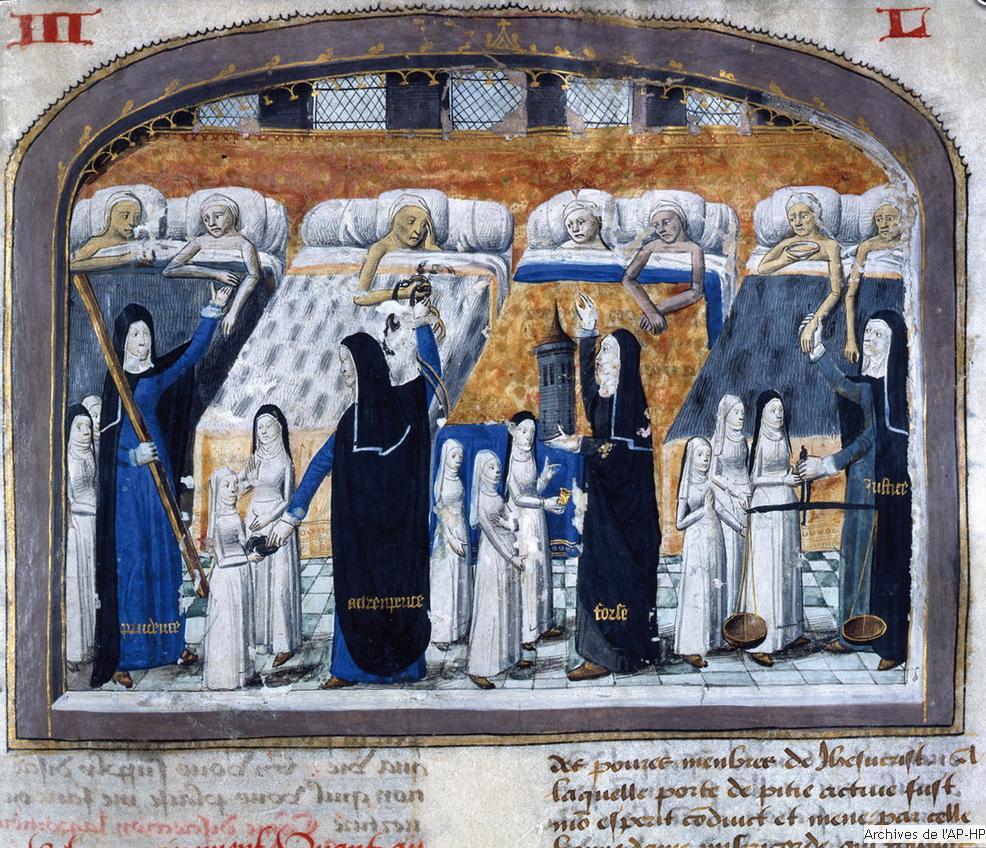 Un hôtel-Dieu, où les moniales soignent des malades. Miniature du Livre des propriétés des choses, XIII<sup>e</sup>-XIV<sup>e</sup>siècle, BNF, Paris