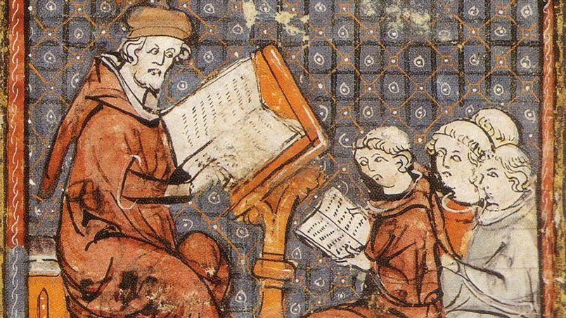 Une école. Miniature du XII<sup>e</sup>siècle, BNF, Paris