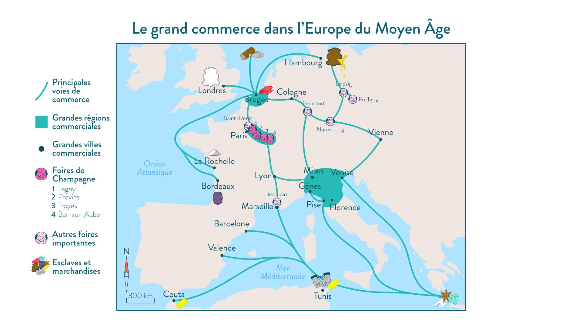 Le grand commerce dans l'Europe du Moyen Âge - 5e - histoire
