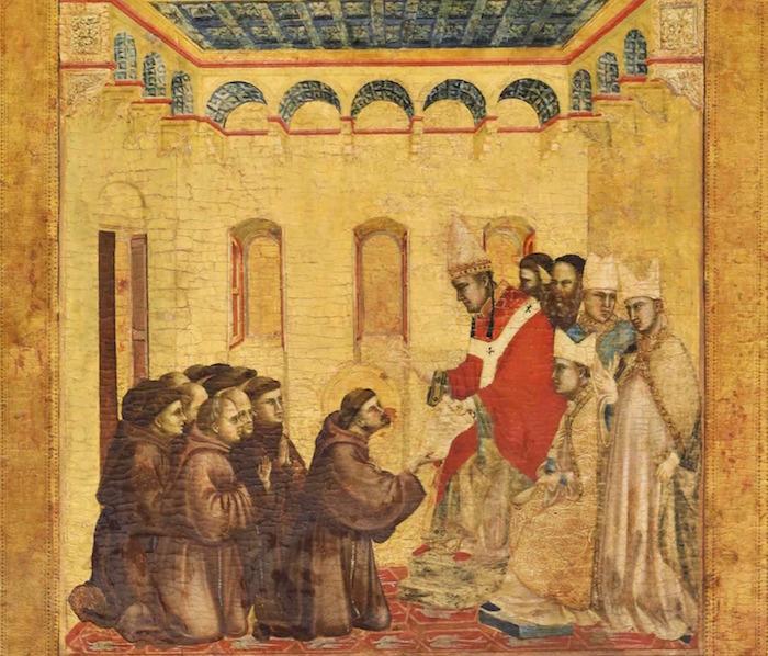 Le pape InnocentIII approuve la règle de saint François: c'est la naissance des Franciscains. Scène du retable de Saint François recevant les stigmates de Giotto, fin du XIII<sup>e</sup> siècle. Musée du Louvre, Paris
