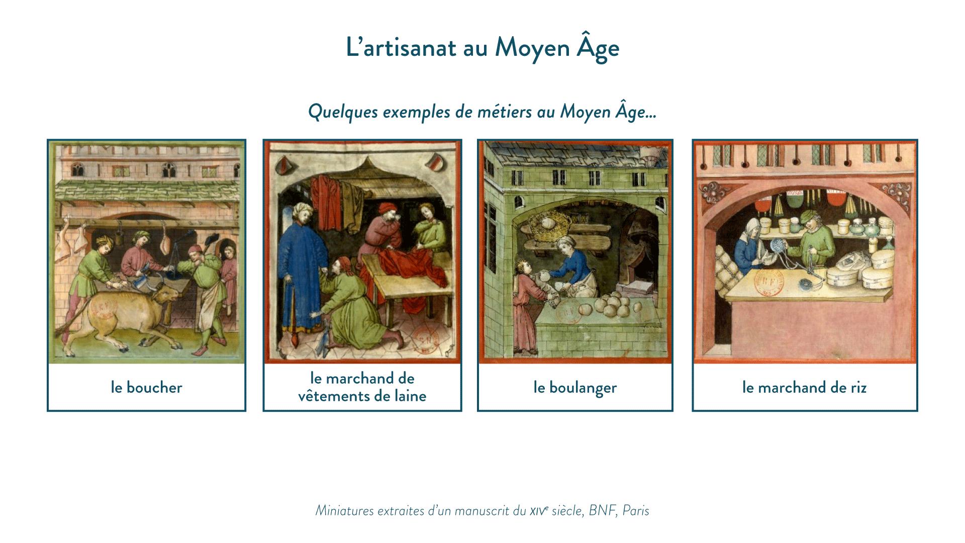 Quelques exemples de métiers au MoyenÂge, miniatures extraites d'un manuscrit du XIV<sup>e</sup>siècle, BNF, Paris-histoire-5e