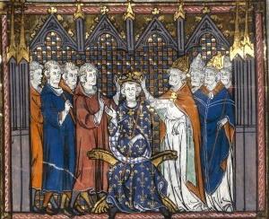 Le sacre d'Hugues Capet. BNF, Paris. Miniature des Grandes Chroniques de France, manuscrit du XIV<sup>e</sup>siècle