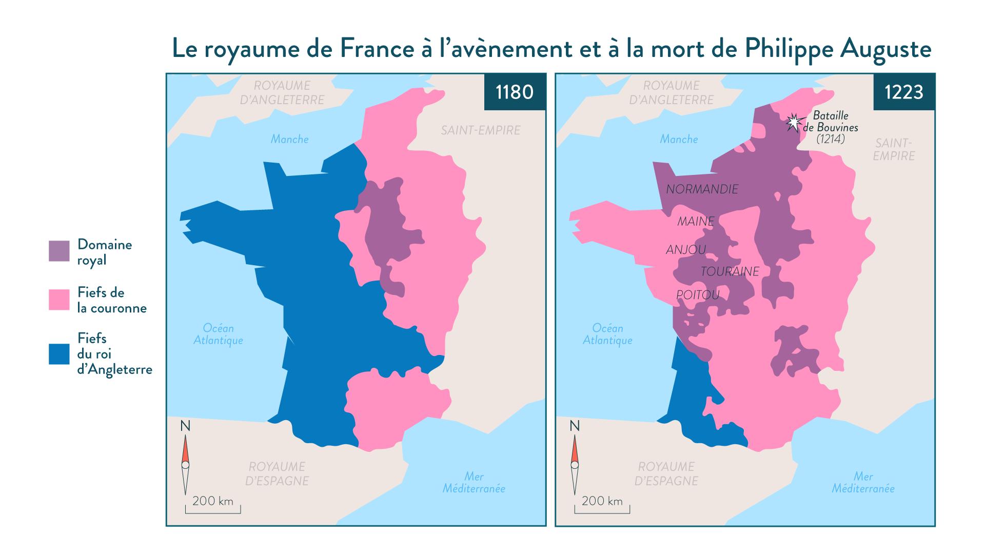 Le royaume de France à l'avènement de Philippe Auguste en1180 et à sa mort en1223-5e-histoire