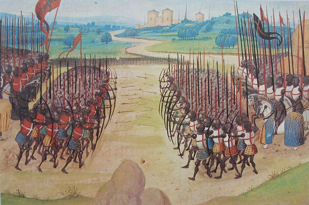 La bataille d'Azincourt, le 25 octobre 1415. Miniature tirée de l'Abrégé de la Chronique d'Enguerrand de Monstrelet, XV<sup>e</sup>siècle, Paris, BNF