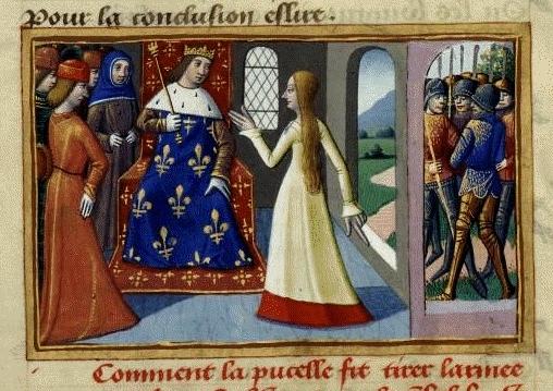 Jeanne d'Arc rencontre le dauphin Charles à Chinon, miniature extraite desVigiles du roi Charles VIIde Martial d'Auvergne, fin du XVe siècle, Paris, Bibliothèque nationale de France, département des Manuscrits