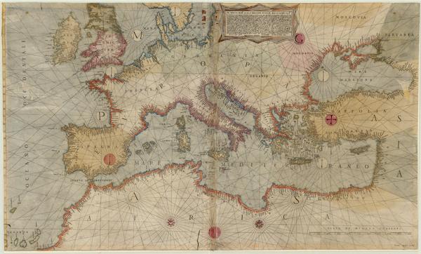 Portulan de la région méditerranéenne, Paolo Forlani, 1569. Les portulans sont des cartes marines qui décrivent la forme des côtes et indiquent les ports de mer