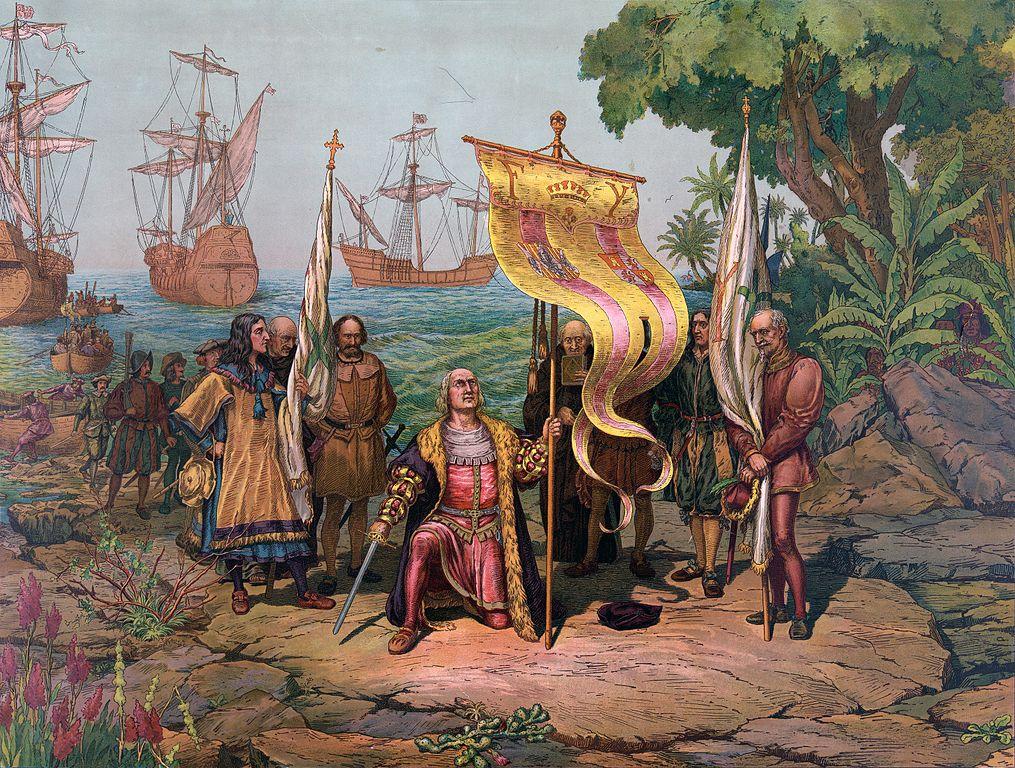 L'arrivée de Christophe Colomb en Amérique, illustration datant de 1893