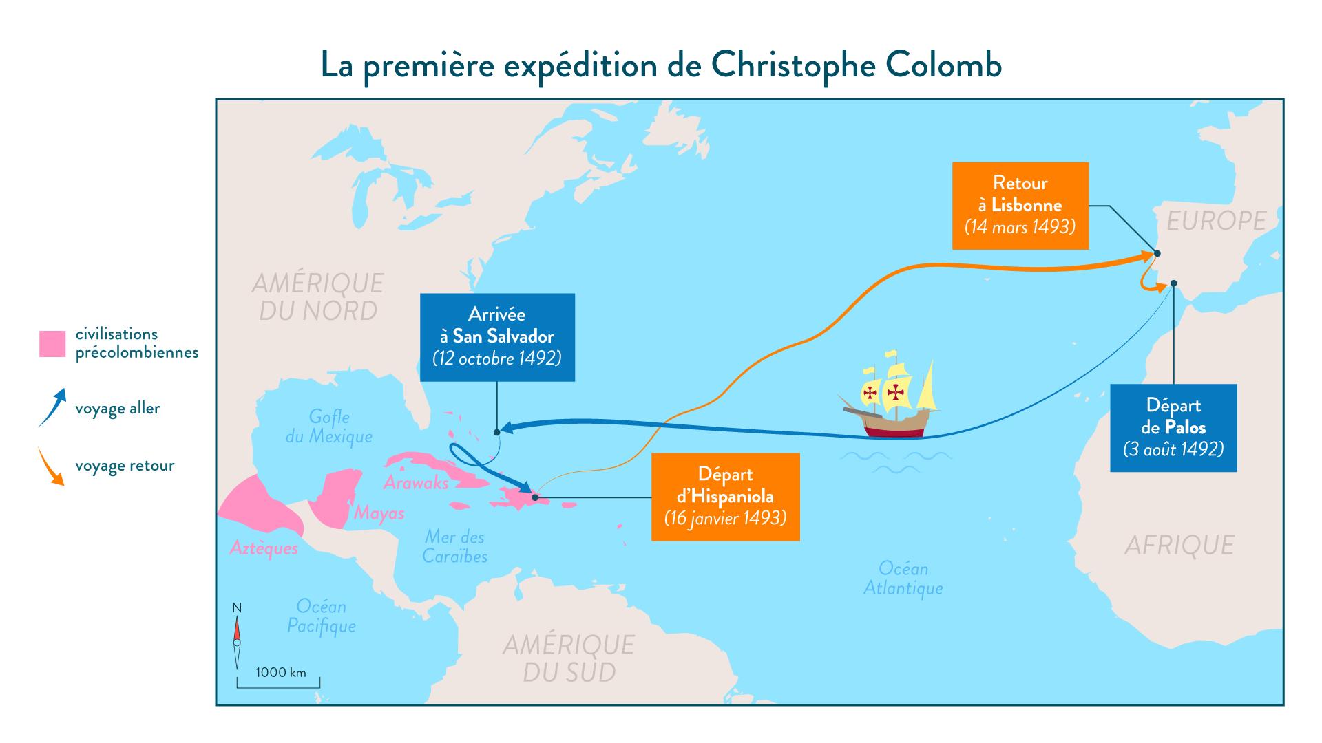 La première expéditioon de Christophe Colomb - 5e - histoire