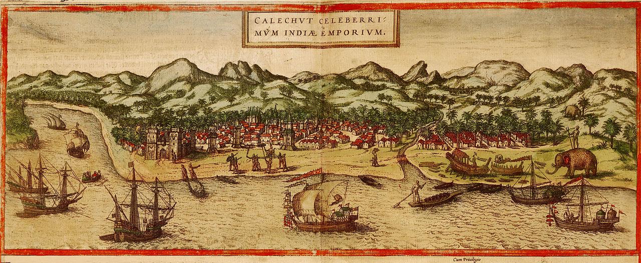 Calicut, le premier comptoir portugais aux Indes, XVI<sup>e</sup>siècle. Gravure sur bois, Georg Braun et Franz Hogengerg