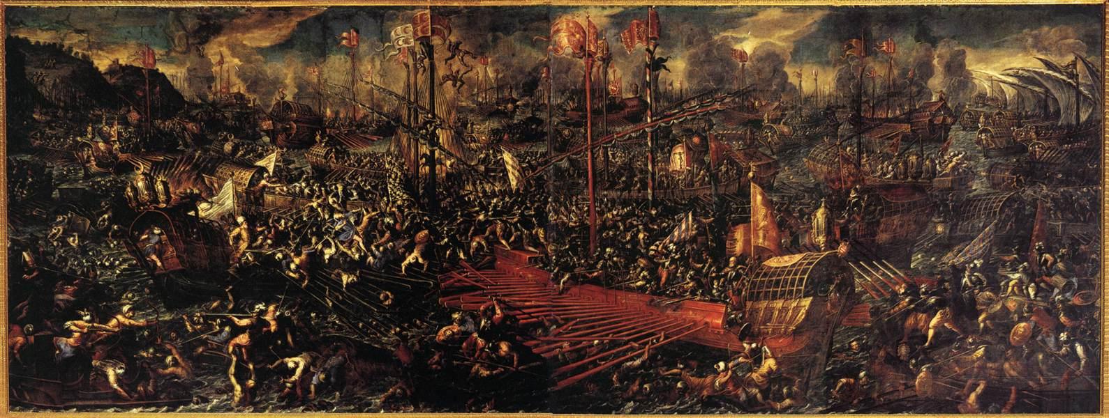La bataille de Lépante, tableau peint par Andrea Vicentino, Palais des Doges, Venise