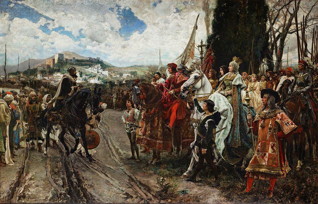 La reddition de Grenade. Le roi musulman Boabdil remet aux Rois catholiques les clefs de la ville de Grenade. Tableau de Francisco Pradilla, peint en1882. Sénat de Madrid, Espagne
