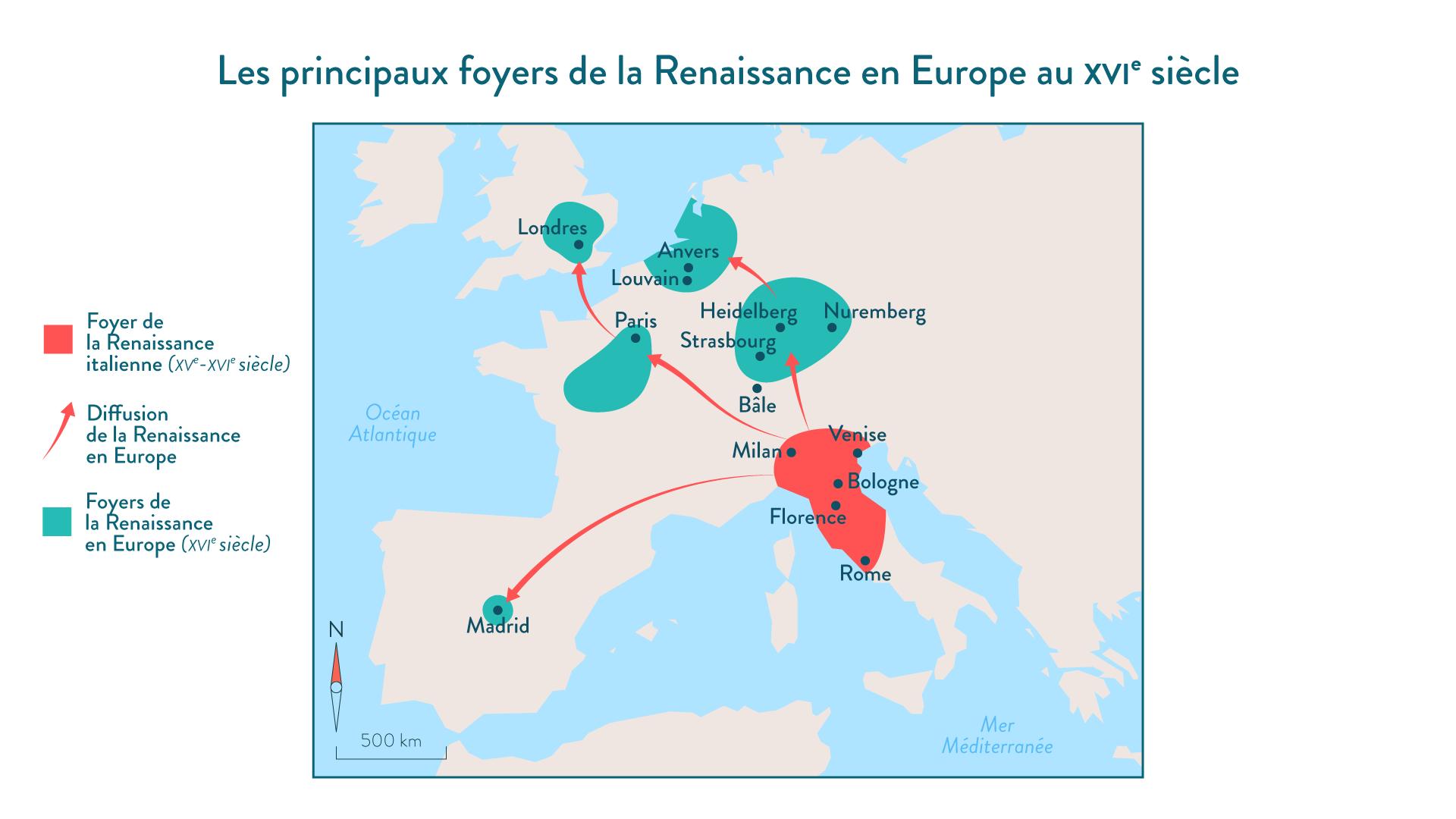 Les principaux foyers de la Renaissance en Europe au XVI<sup>e</sup>siècle - 5e - histoire