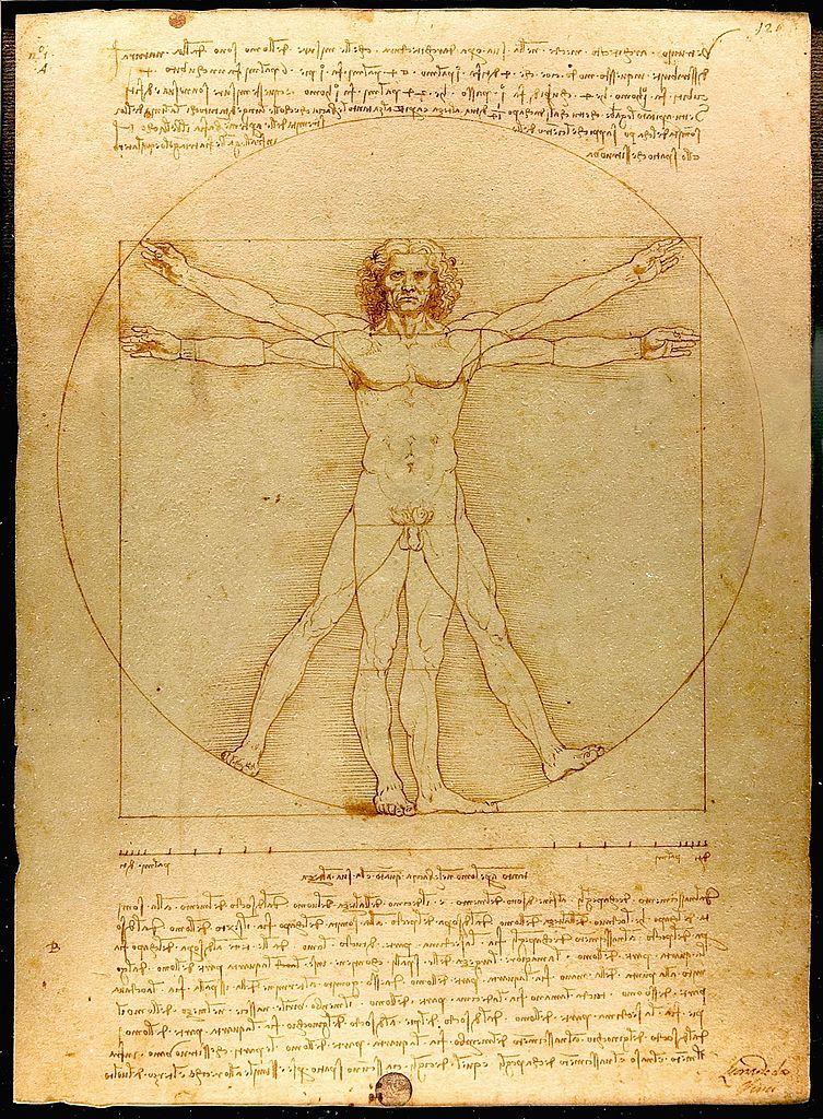 Proportions du corps humain, dit L'homme de Vitruve, dessin à l'encre de Léonard de Vinci, vers 1490. Galleria dell'Accademia, Venise