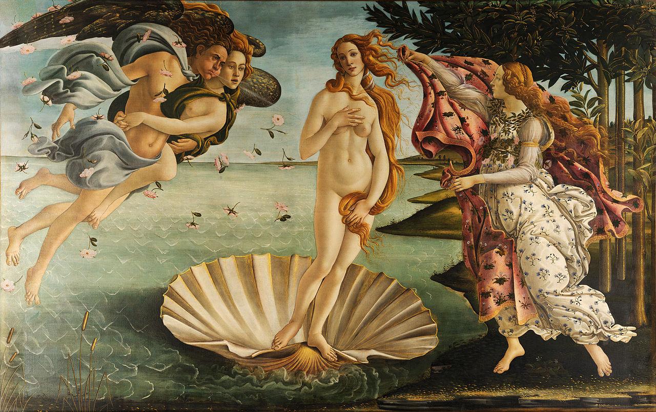 La naissance de Vénus, tableau peint par Sandro Botticelli vers 1485. Galerie des Offices, Florence