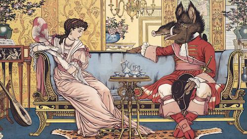 La Belle apprend à connaître la Bête. Illustration du conte «La Belle et la Bête» par Walter Crane, 1874