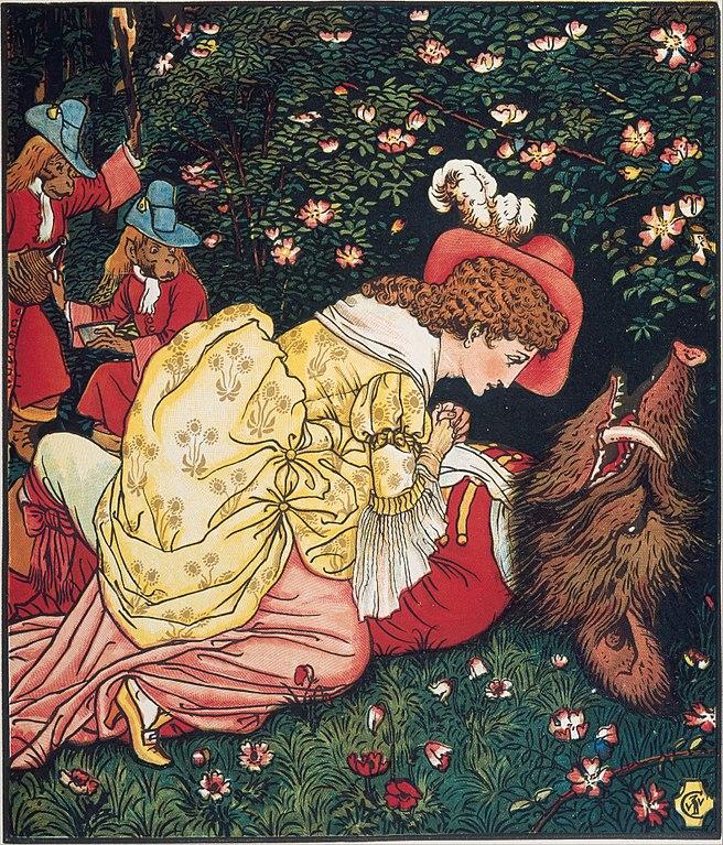 La Belle trouve la Bête sans connaissance. Illustration de La Belle et la Bête de Walter Crane, 1874