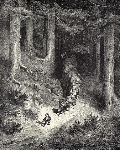 Le Petit Poucet sème des cailloux pour retrouver son chemin. Gustave Doré, illustration pour «Le Petit Poucet» de Charles Perrault, 1862