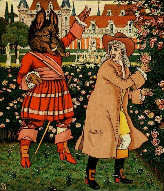 La Bête surprend le marchand en train de voler une rose. Illustration du conte «La Belle et la Bête» par Walter Crane, 1874