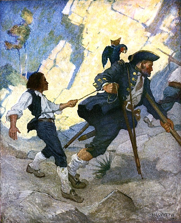 Jim, Long John Silver et son perroquet, Newell Convers Wyeth, illustration pour l'édition de 1911 de L'Ile au trésor.