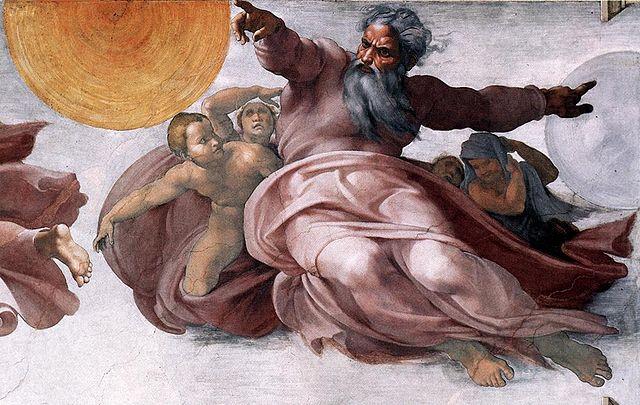 Michel-Ange, Dieu crée la Terre, la Lune et le Soleil, Chapelle Sixtine, 1511-Français-6e