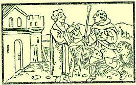 L'avocat Pathelin avec le berger Agnelet, dans l'édition de <em>La Farce de Maître Pathelin</em> de 1564-Français-6e