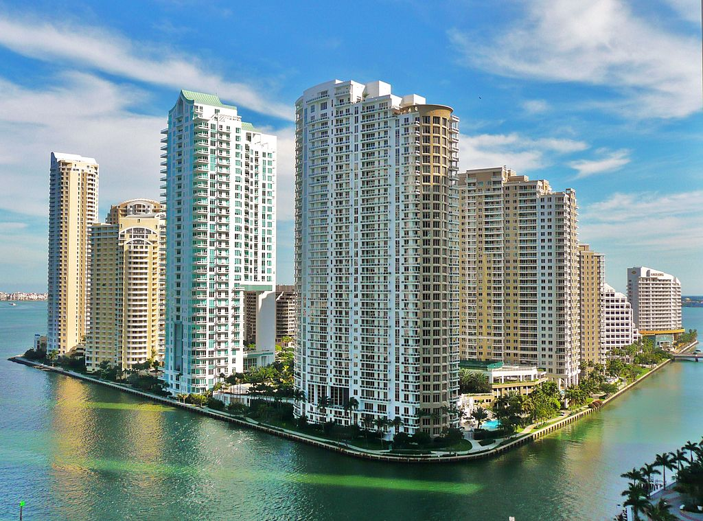 Le quartier de Brickell Key, à Miami (Floride, États-Unis) ©Marc Averette, 11 février 2010