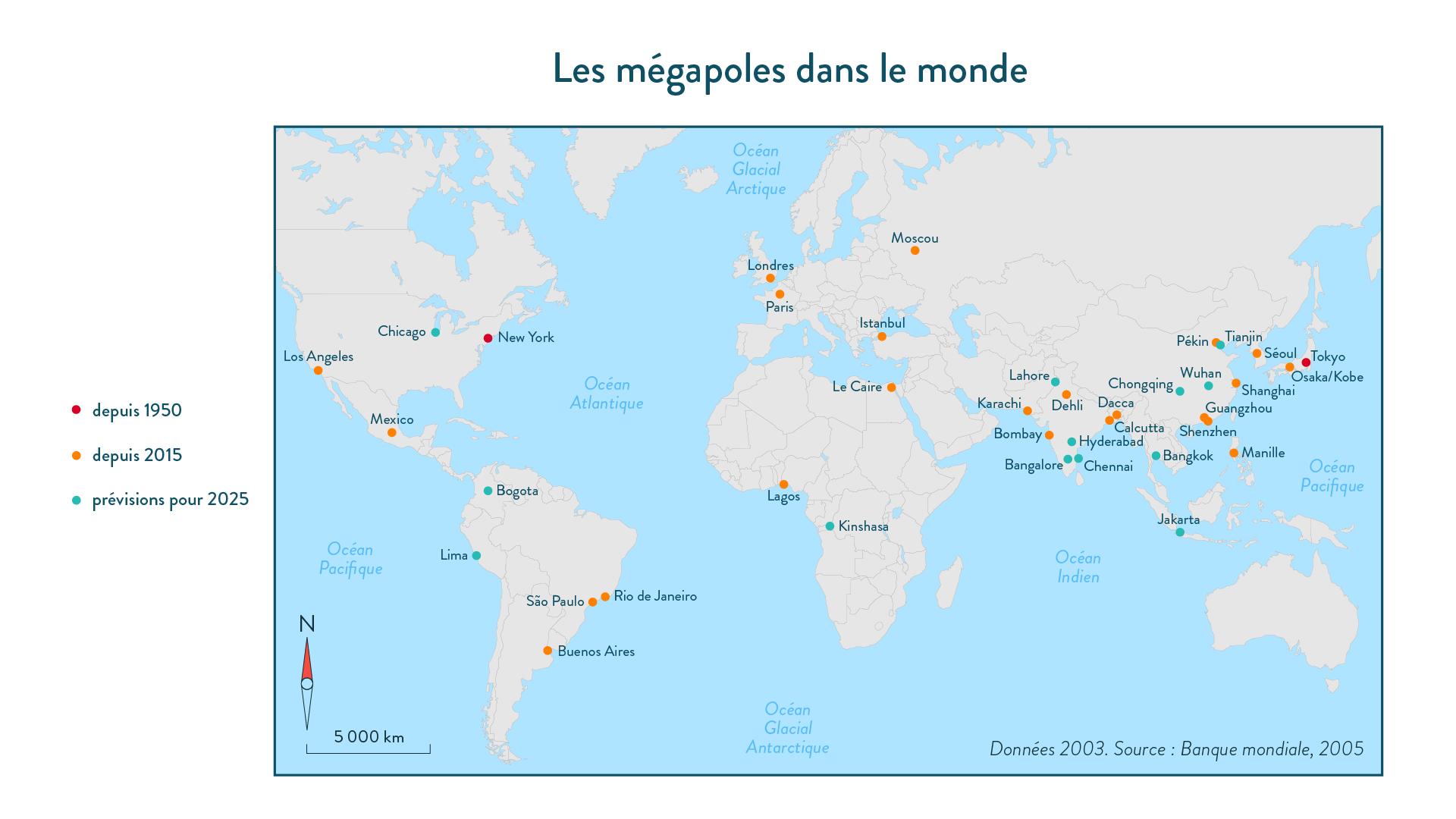 6e-géographie-SchoolMouv - Les mégapoles dans le monde