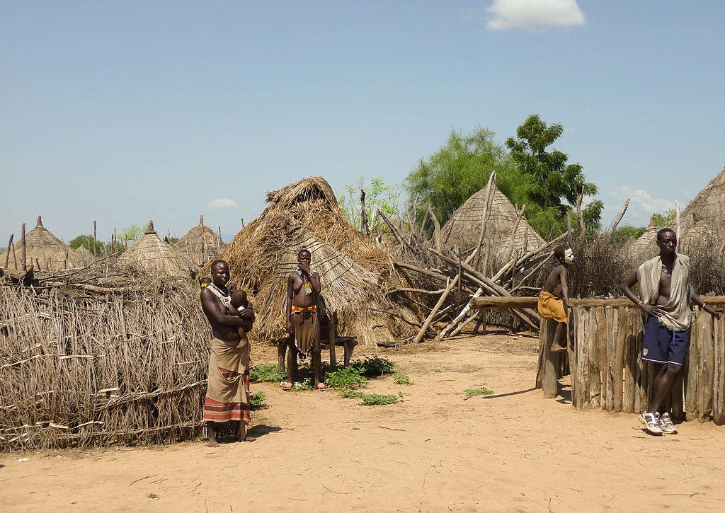 Le village de Doose, dans la Vallée de l'Omo, en Éthiopie. Dans cette vallée, les densités de population sont très faibles. Ses habitants pratiquent l'élevage et l'agriculture traditionnelle. © Bernard Gagnon