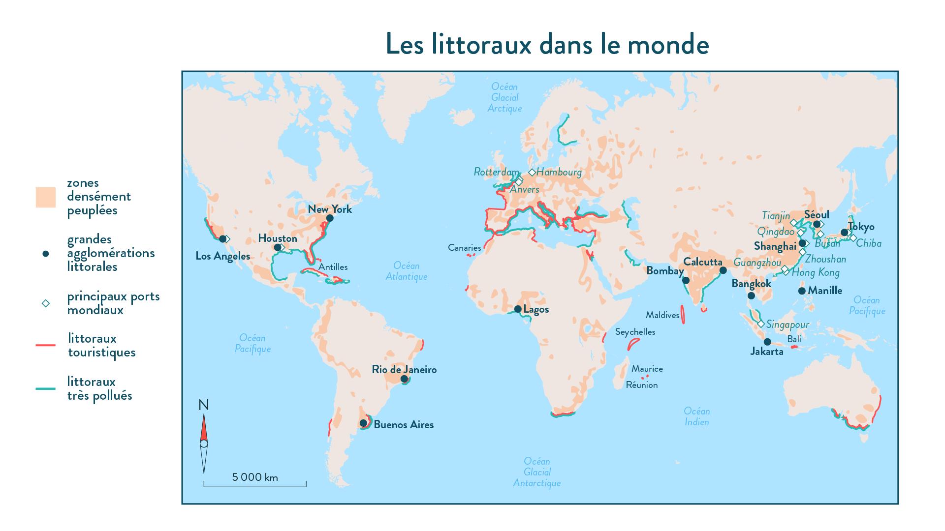 6e-géographie-SchoolMouv - Les littoraux dans le monde