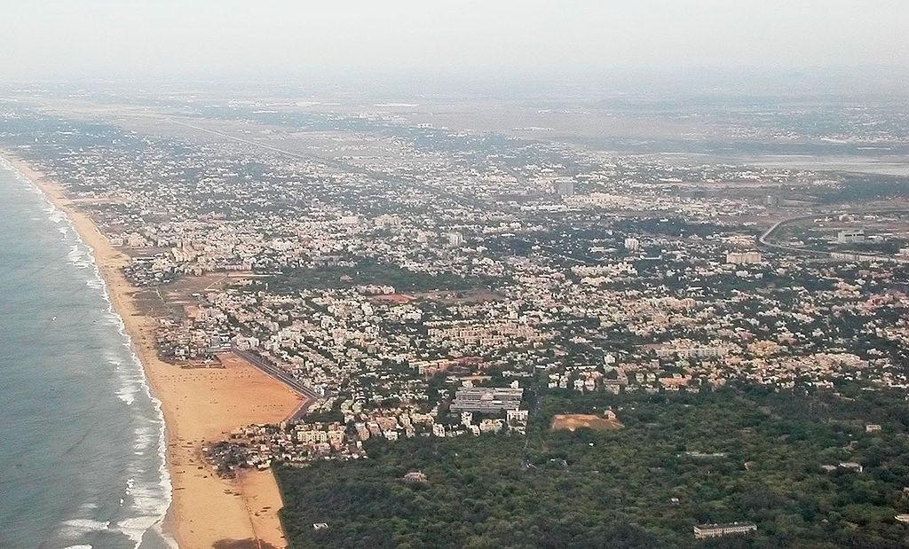 Le littoral très urbanisé de Chennai, la quatrième ville la plus grande d'Inde ©CC-by-sa PlaneMad/Wikimedia