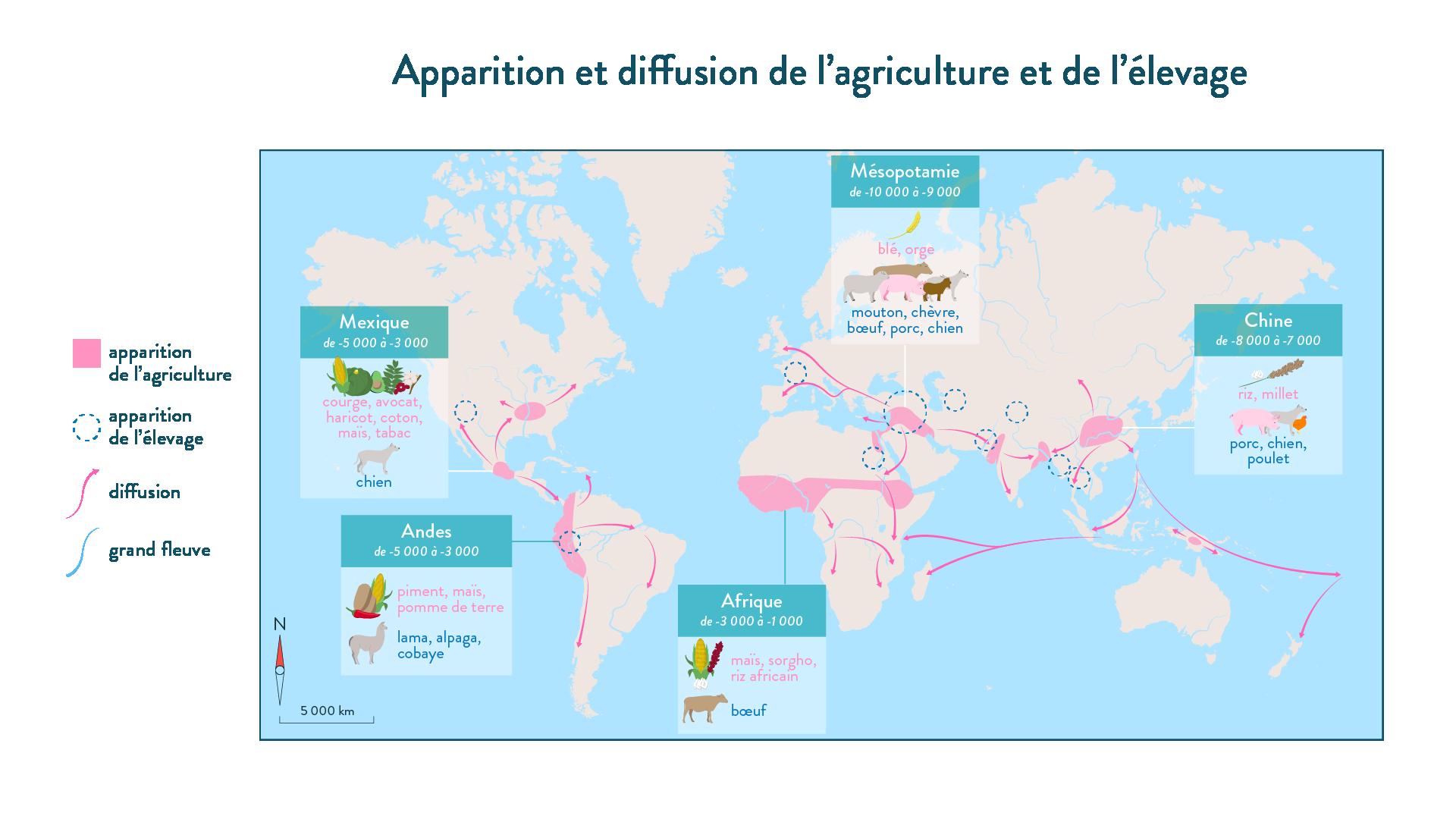 Apparition et diffusion de l'agriculture et de l'élevage-6e-Histoire