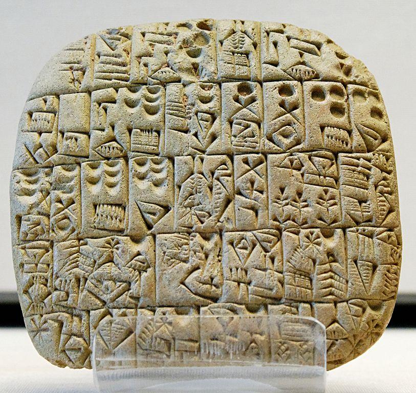 6e-histoire-Tablette d'argile en écriture cunéiforme