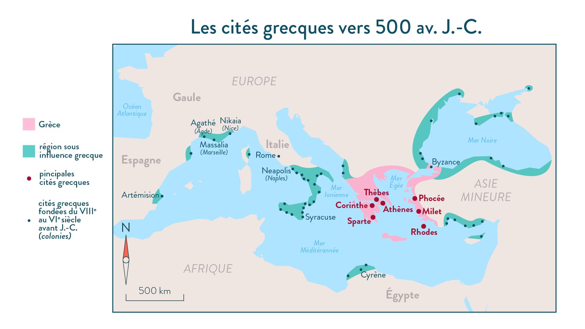 Histoire-6e-Les cités grecques vers 500 av. J.-C.