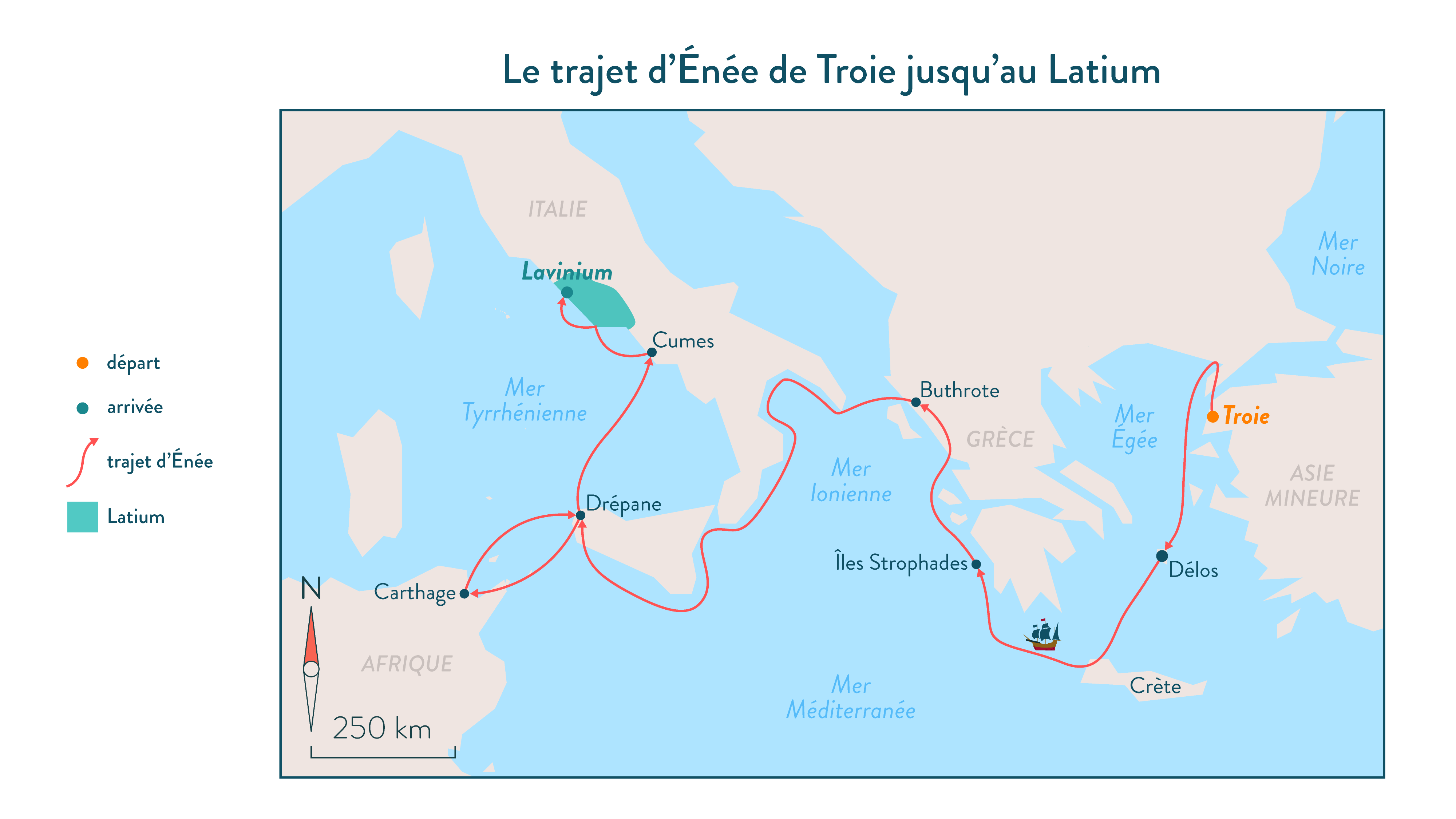 Le trajet d'Énée de Troie jusqu'au Latium-histoire-6e