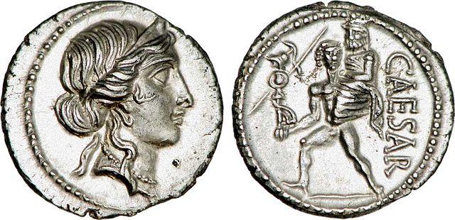 revers et avers d'une pièce de monnaie frappée sous César-histoire-6e