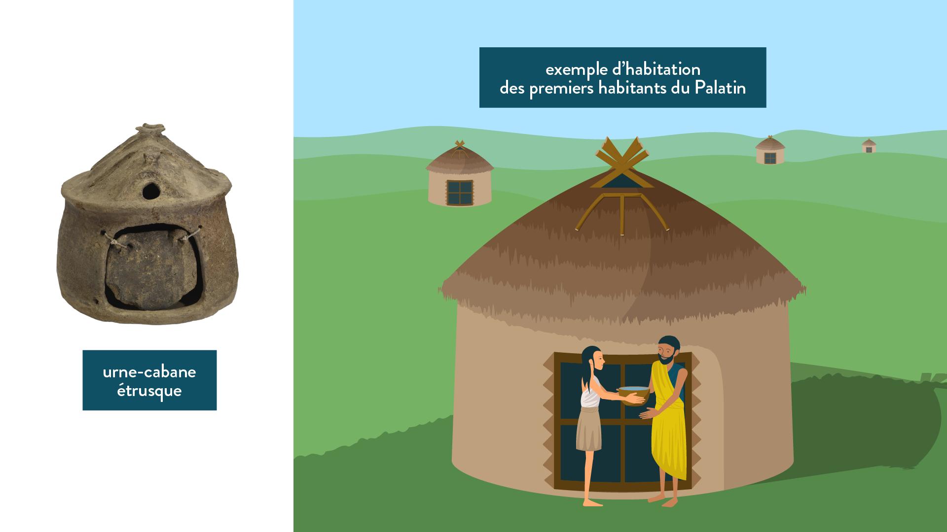 Urne-cabane étrusque et habitation des premiers habitants du Palatin-histoire-6e