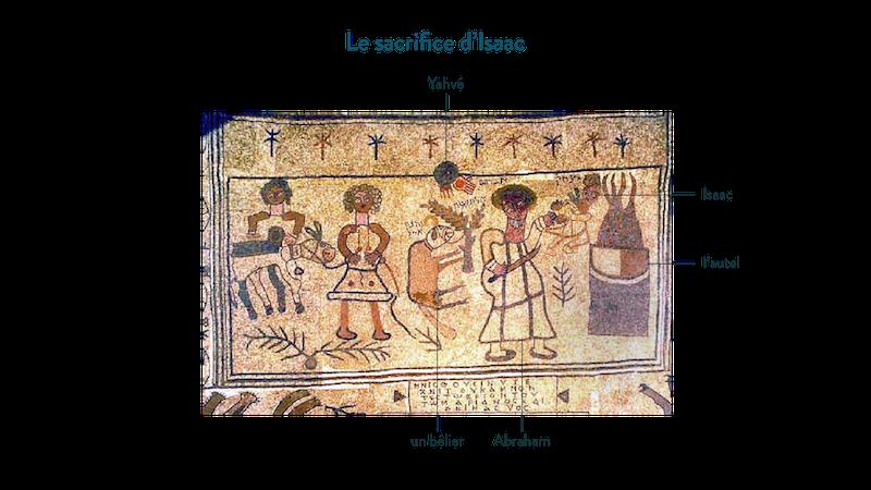 Le sacrifice d'Isaac. Mosaïque de la synagogue de Beth Alpha (Israël), VI<sup>e</sup>siècle ap. J.-C.©Talmoryair